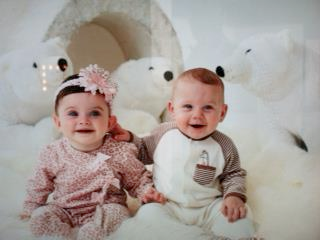 Photo: happy babies on set today with Time Geaney shooting for Little Me! Smiling babies make my day!! (even if this little boy is trying to pull her ear off :-)))